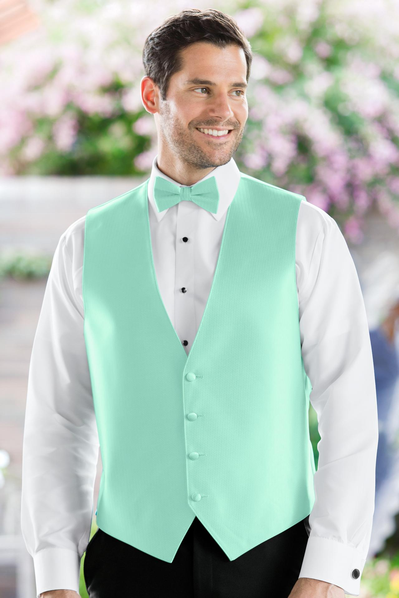 Herringbone Mint Vest | Jim\'s Formal Wear