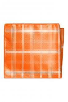 Orange Plaid Pocket Square
