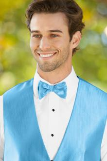Herringbone Blue Ice Bow Tie