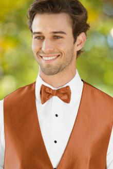 Herringbone Burnt Orange Bow Tie