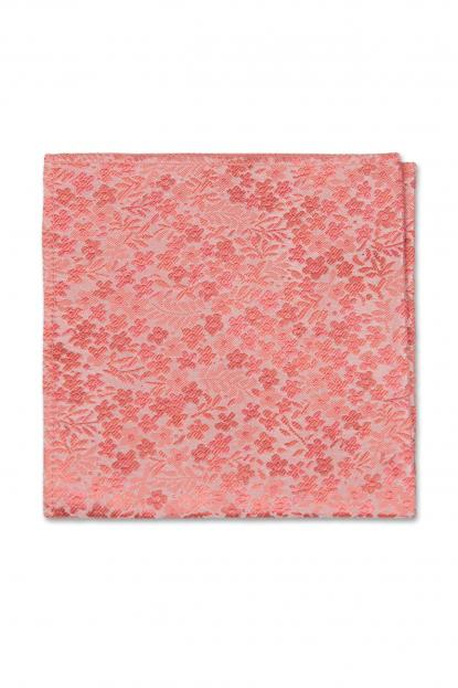 Dark Coral Floral Pocket Square