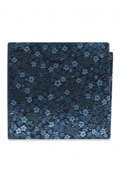 Slate Blue Floral Pocket Square