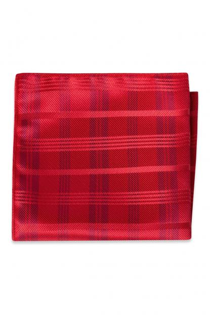 Ruby Red Plaid Pocket Square