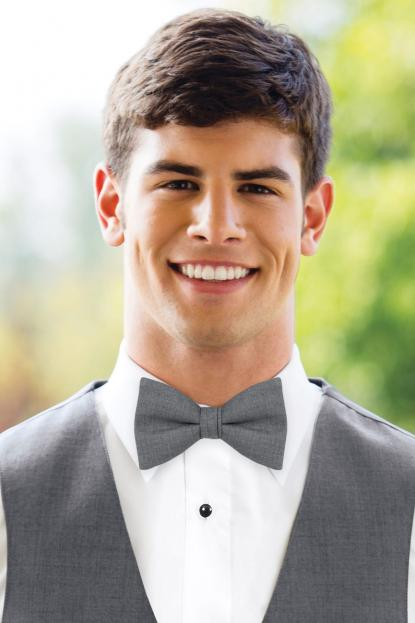 Matching Medium Grey Wool Bow Tie