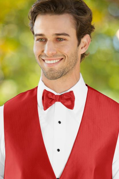 Herringbone Ruby Bow Tie