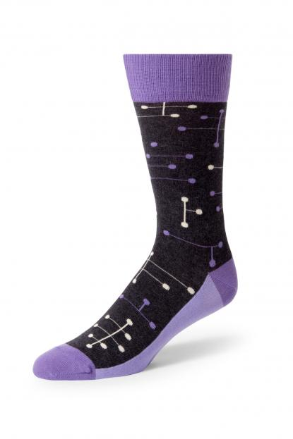 Purple Line Dot Socks