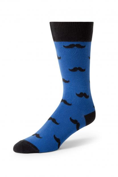 Royal Blue Mustache Socks