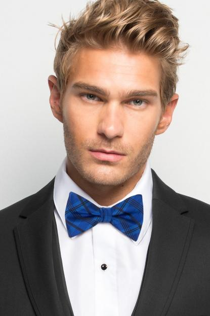Royal Blue Plaid Bow Tie