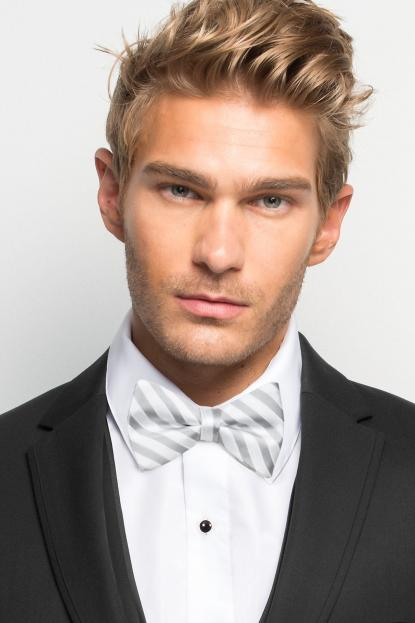 Grey Striped Bow Tie