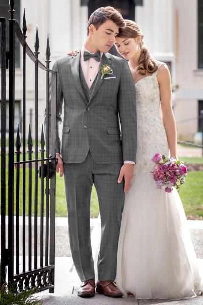 Ultra Slim Grey Plaid Hamilton Suit