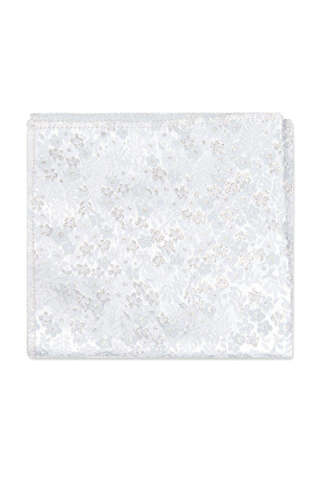 Silver Metallic Floral Pocket Square