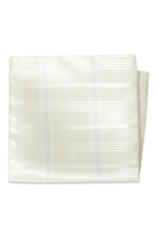 Diamond White Plaid Pocket Square