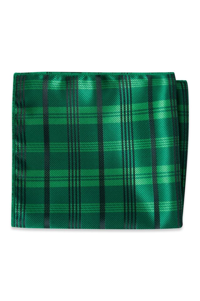 Emerald Plaid Pocket Square