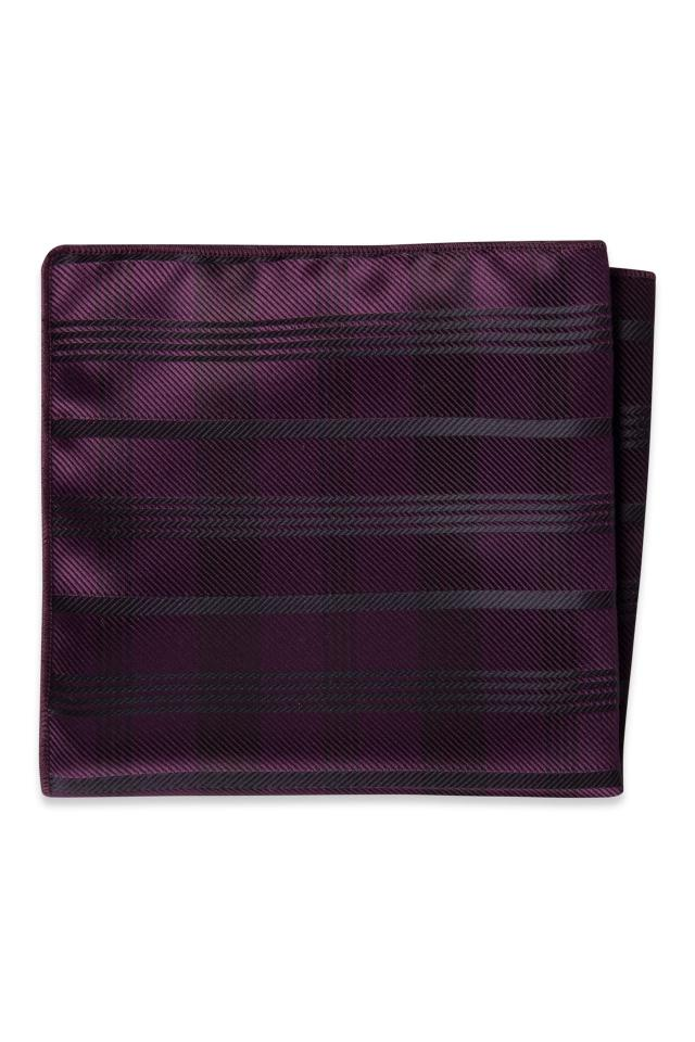 Plum Plaid Pocket Square