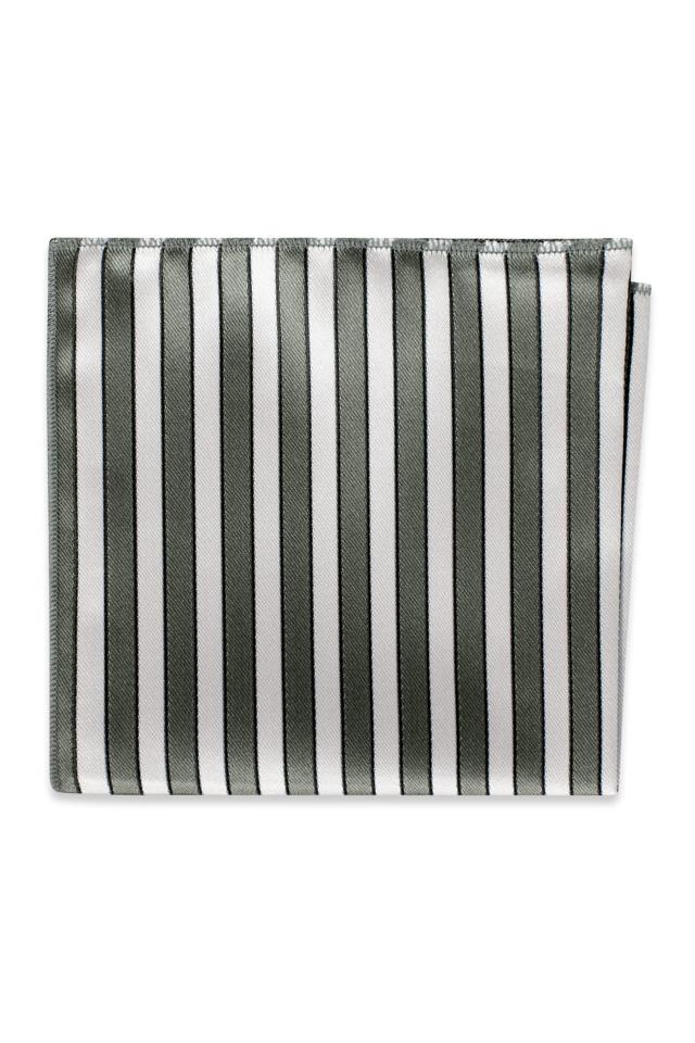 Platinum Striped Pocket Square