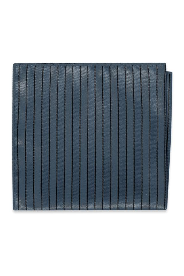 Steel/Slate Blue Striped Pocket Square