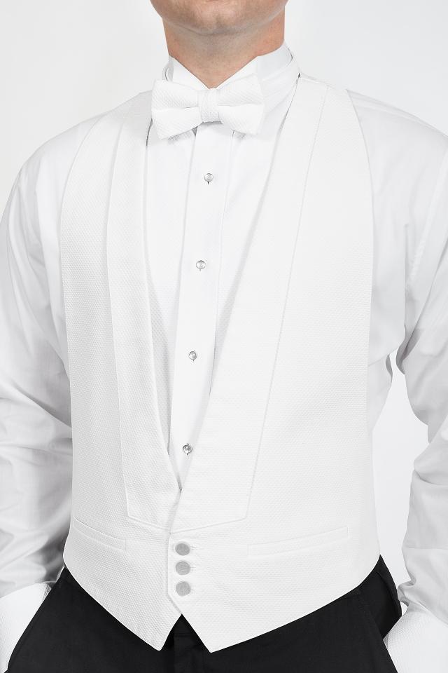 6b92346add3d Classic White Pique Backless Vest | Jim's Formal Wear