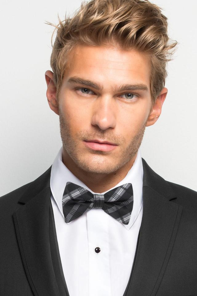 Black Plaid Bow Tie