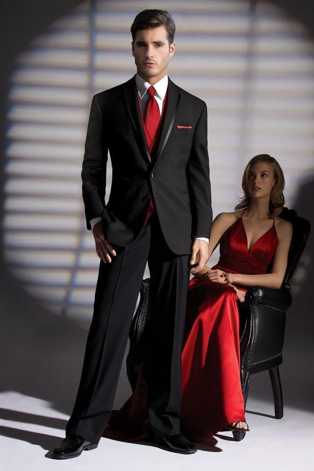 Black la strada modern fit tuxedo jim 39 s formal wear for Tux builder