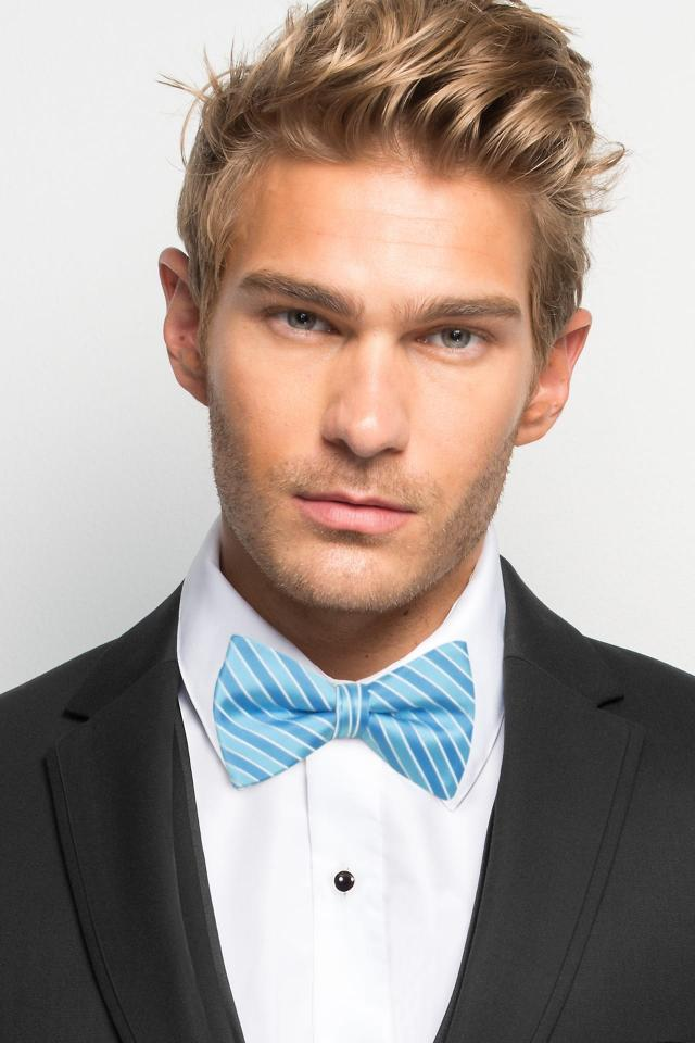 Blue Ice Striped Bow Tie