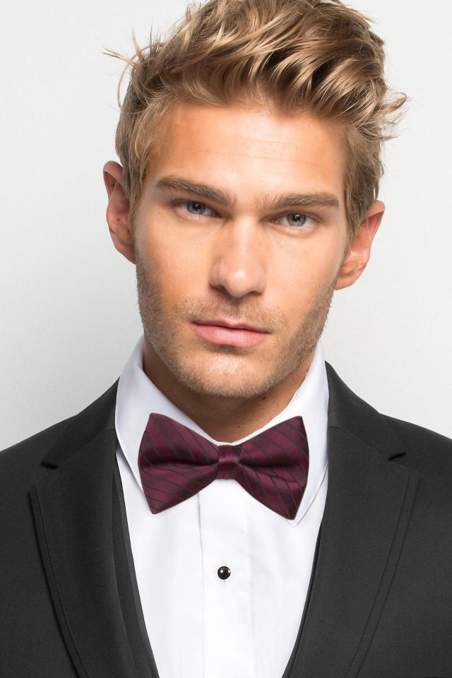Wine Striped Bow Tie
