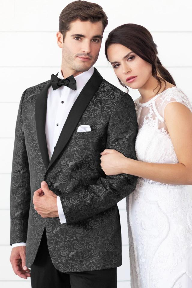 Mark of Distinction Granite Paisley Aries Slim Fit Tuxedo