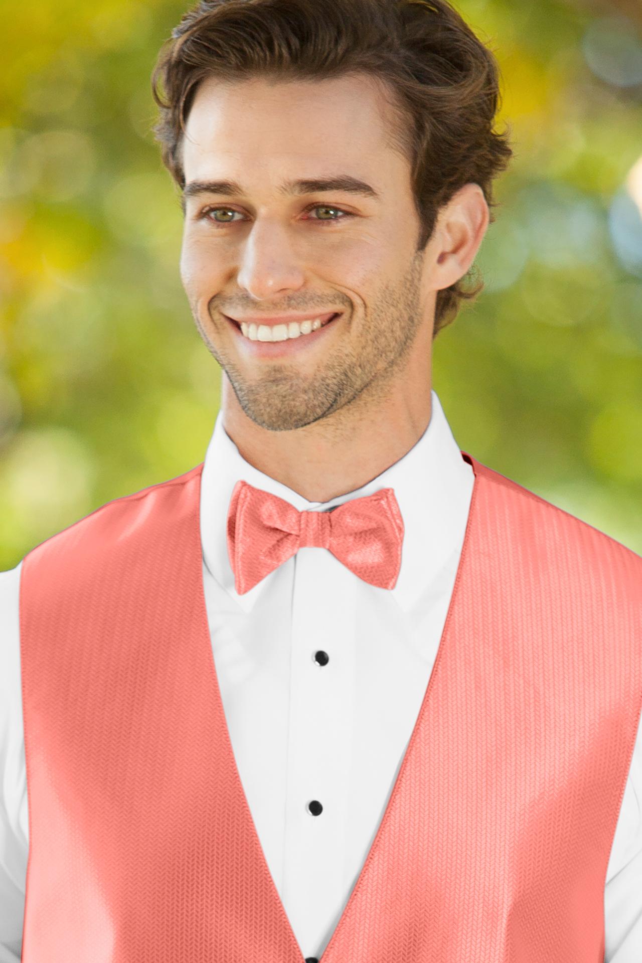 Herringbone Coral Bow Tie Jim S Formal Wear