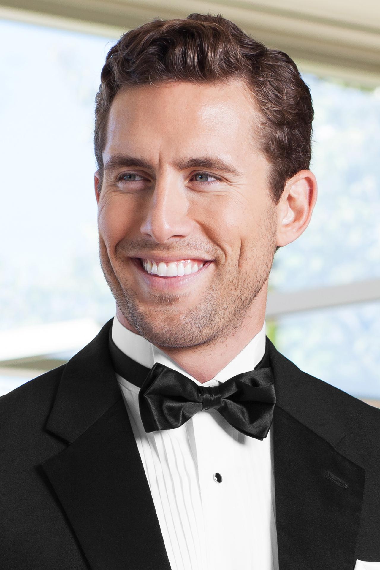 bow tie satin black BSAT - Western Wedding Tux