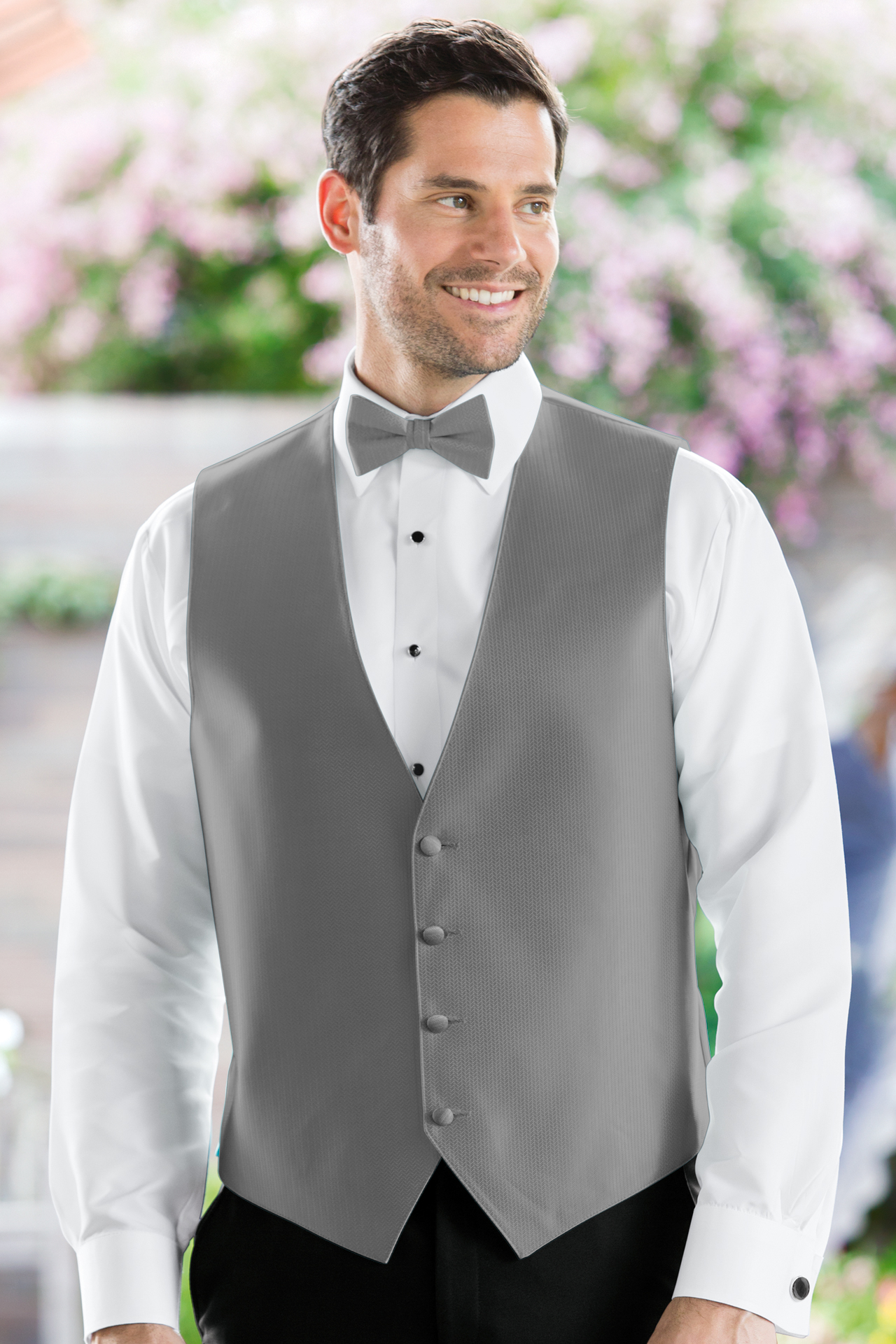Herringbone Platinum Vest Jims Formal Wear