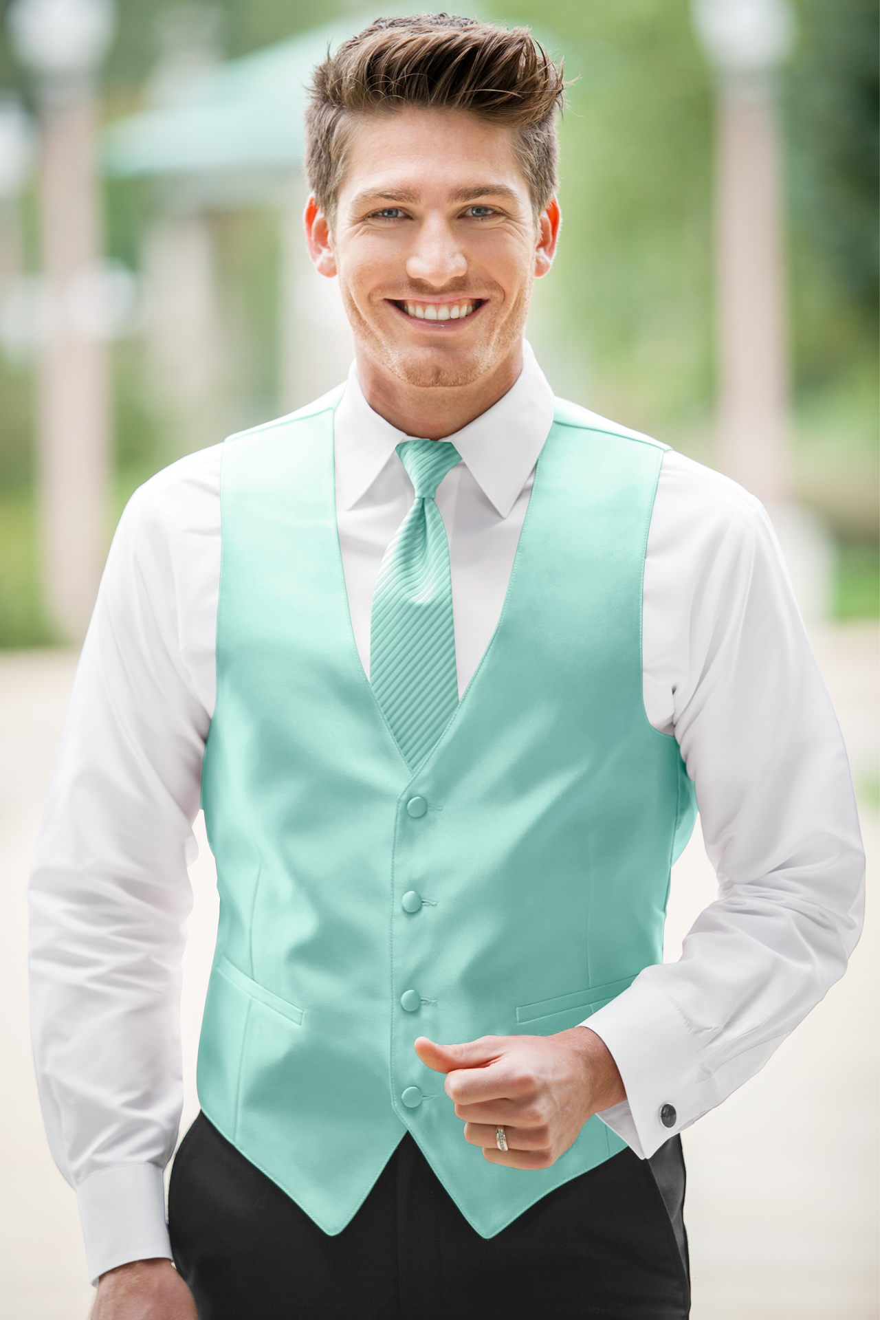 Expressions Tiffany Blue Vest | Jim\'s Formal Wear