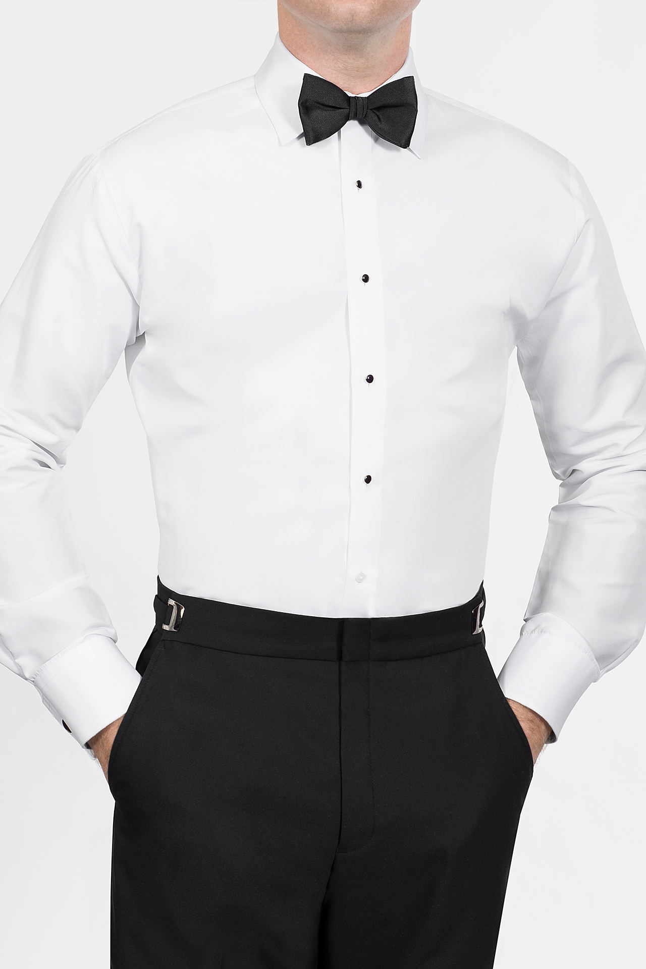 White Fitted Microfiber Jims Formal Wear