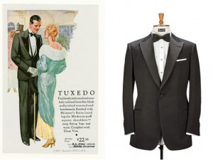 Left to Right: a 1931 Tuxedo advertisement, a classic tuxedo
