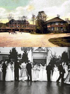 Top: the Tuxedo Club in 1920, Bottom: the Autumn Ball at the Tuxedo Club, 1959
