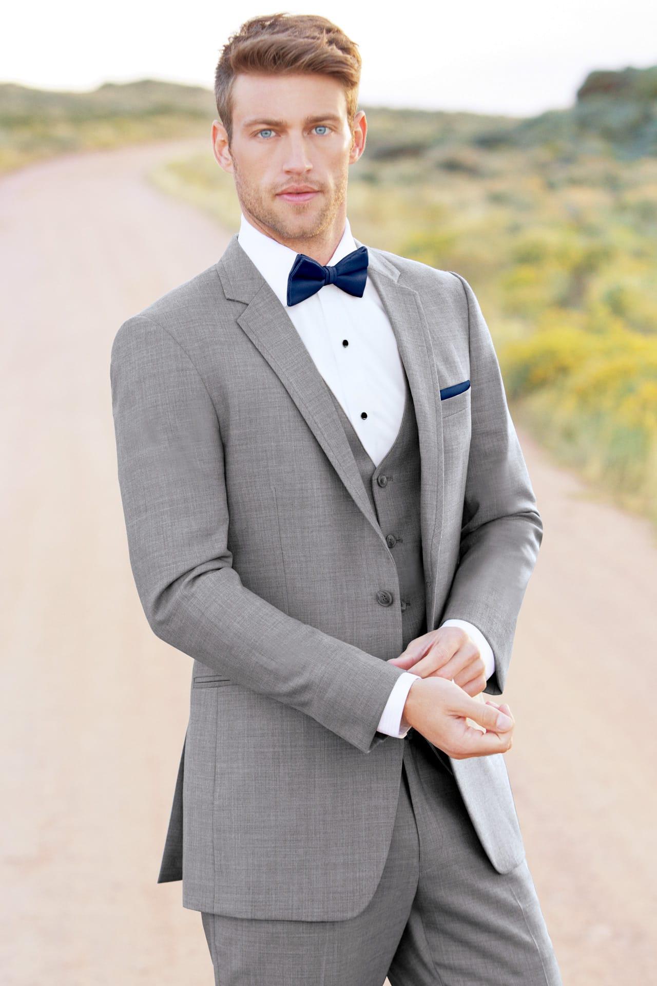 Allure Men Ultra Slim Heather Grey Clayton Suit Ultra Slim
